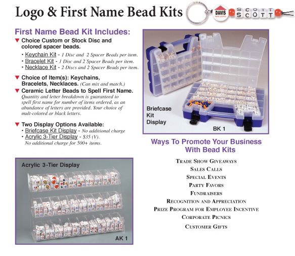 logo and first name bead kits